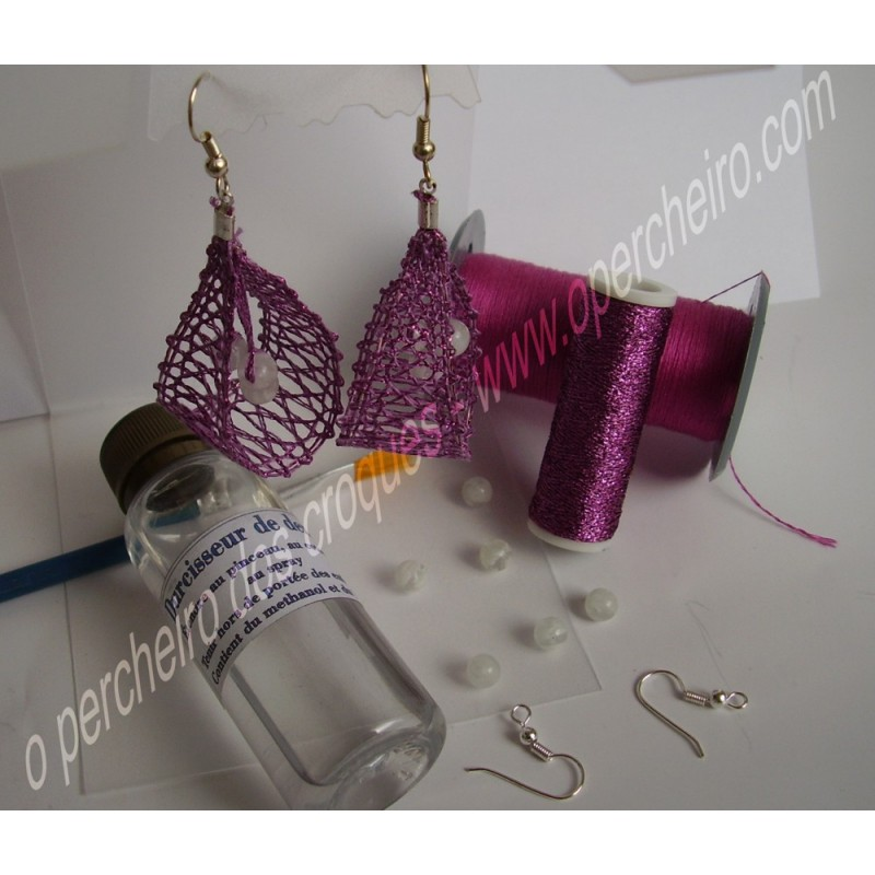 A Kit pendientes de seda rosa